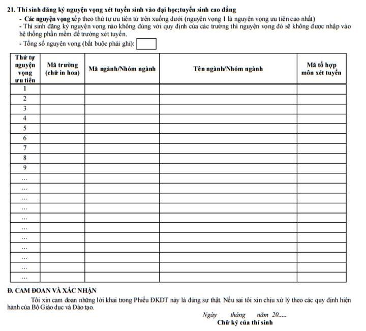 hướng dẫn cách ghi phiếu đăng ký dự thi thpt quốc gia